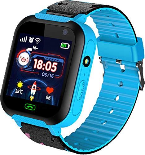 Niños Smartwatch Impermeable - Reloj de Pulsera Inteligente con ubicación GPS/LBS Reloj Despertador SOS Reloj Digital Cámara Linterna Juegos para niños compatibles con iOS/Android (Azul)