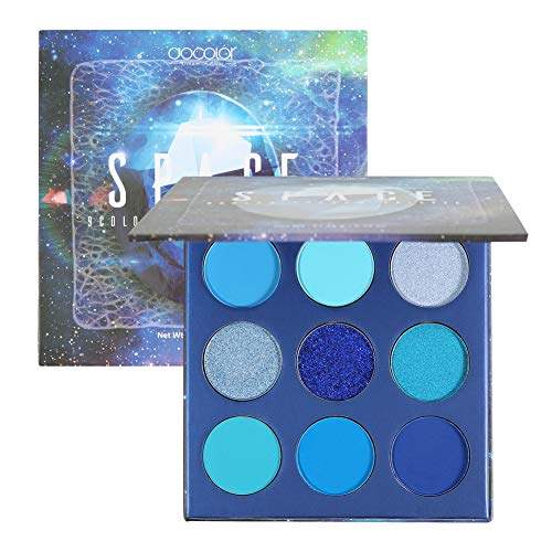 Docolor Eyeshadow Palette 9 Colors Gemstone Shadow Palette Highly Pigmented Mattes Shimmers Naked Smokey Glitter Cream Colorful Powder Blendable Long Lasting Waterproof Makeup Palette-Blue