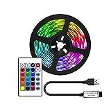 Tira de Luces LED con luz de Fondo de TV LED remota de 2M para Luces LED de 40-60 Pulgadas HDTV RGB alimentadas por USB para decoración de Dormitorio