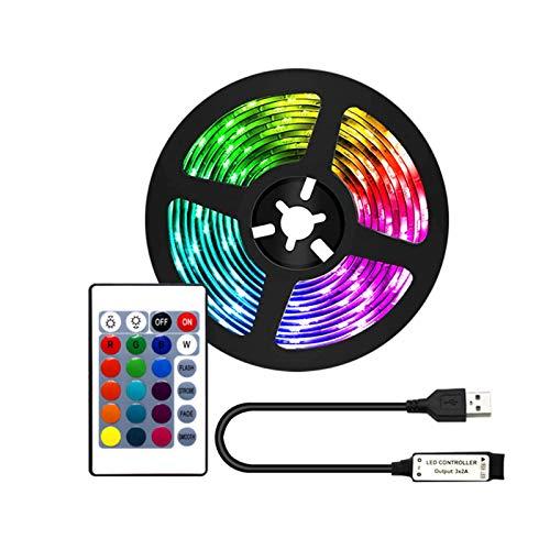 Domeilleur Tira de luces LED 2 m con control remoto 60 LED IP65 epoxi impermeable TV retroiluminación adhesivo para 40-60 pulgadas HDTV RGB USB Powered Led luces para decoración de dormitorio