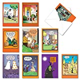 NobleWorks - 10 Funny Halloween Cards Assorted - Hilarious Boxed Notecards with Envelopes - Halloween Humor AC3106HWG-B1x10