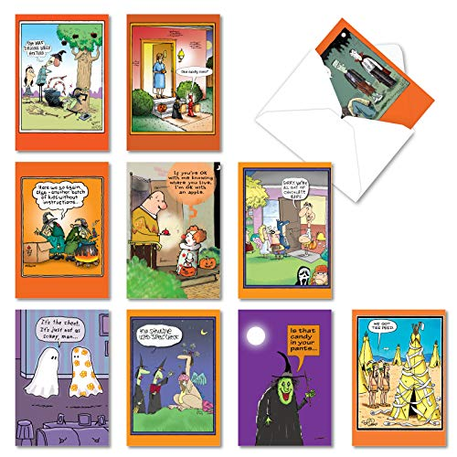 NobleWorks, Halloween Humor - 10 Funny Halloween Cards with 5x7 Envelopes - Boxed Set of Assorted Cartoon Greetings, Stationery AC3106HWG-B1x10