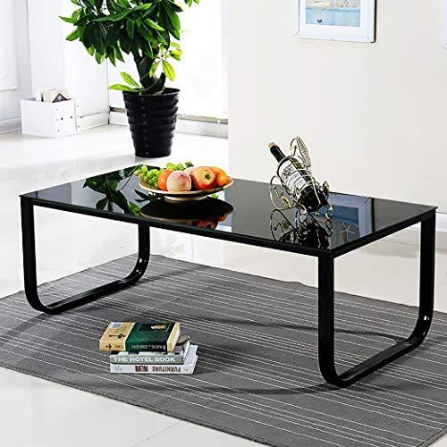 OFCASA Black Modern Coffee Table End Side Table Glass Top Living Room Furniture Black Legs Multi Colour, Retro Coffee Table Metal Frame Tempered Glass Black Top Living Room (Black)