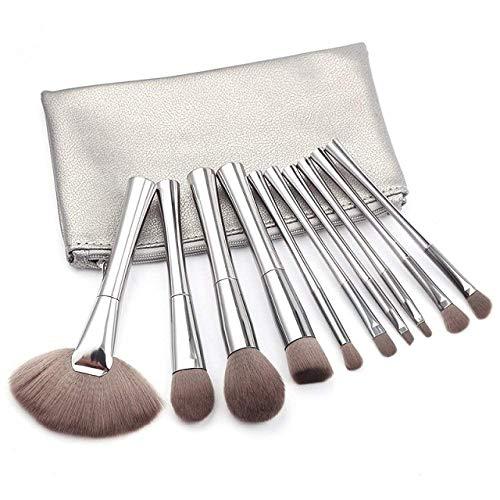 TYWZJ style2 Make-up-Pinsel, 10 Stück, silberfarben, für Puder, flache Grundierung, Lidschatten,...