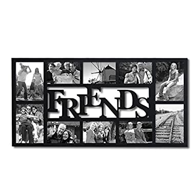 Adeco PF0396 10-Opening Decorative Wood  Friends  Collage Wall Hanging Picture Photo Frame, 4x6 Inches and 5x7 Inches, Black