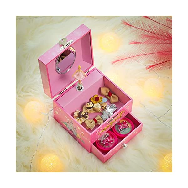 "SONGMICS Musical Jewelry Box, 4.7""L x 4.3""W x 3.9""H, Pink 4"