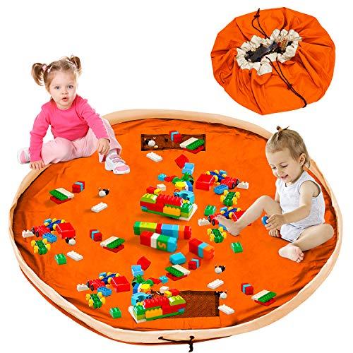 Bolsa de almacenamiento de juguetes, portátil organizador de juguetes, borsa per giocattoli niños, alfombra de juego organizer, una limpieza más rápida - 150cm, Naranja