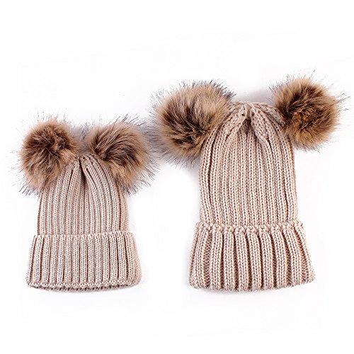 oenbopo 2PCS Parent-Child Hat Winter Warmer, Baby Hat/Women Hat, Mother & Baby Knit Hat Winter Warm Crochet Cap Khaki