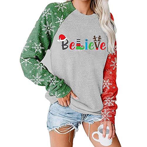 Sudadera con Estampado De Sombrero De Navidad Believe para Mujeres Y Niñas, Jersey De Bloque De Color con...