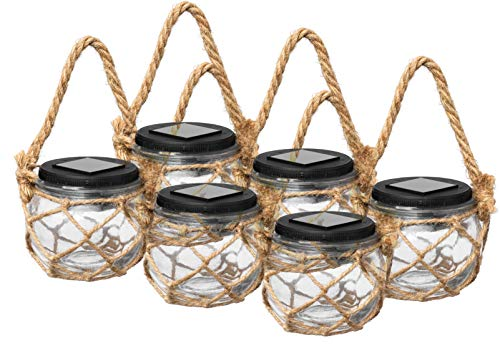 LED Solar Gartenleuchte aus Glas im Netz zum Hängen oder Stellen, kalt-weiß beleuchtet, kabellose Solar-Laterne (6er Set)