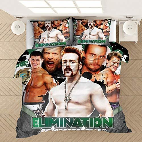 Juego de cama para hombres, funda nórdica y funda de almohada impresa en 3D del campeón de lucha libre de la WWE, adecuada para una cama individual doble king size-1_200 * 230 cm (3 piezas)