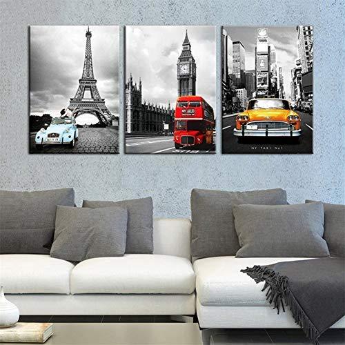 Lona Arte de la pared HD imprime imágenes del paisaje 3 Piezas París Torre New York City Car Pinturas Big Ben Poster Decoración de lona (Size (Inch) : 35cmx50cmx3pcs)