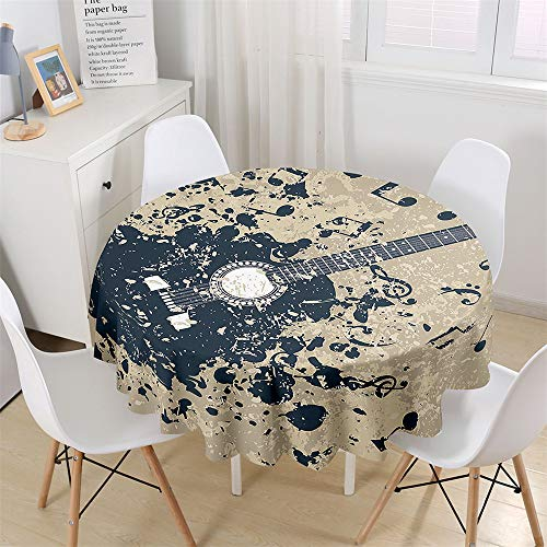 Chickwin Round Fitted Tablecloth Waterproof Dust-Proof Music Printed Wipe Clean Polyester Table Cover, Table Protector for Garden Kitchen Dinning Tabletop Decoration (Guitar music symbol,180cm)