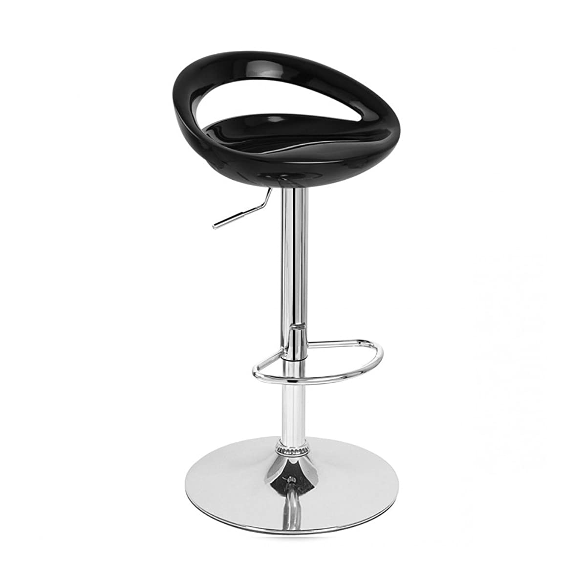 Roundhill Furniture Contemporary Chrome Adjustable Swivel Bar Stool with Black Seat, Set of 2