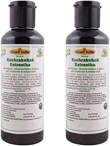 Glamorous Hub Khadi India Premium Keshrakshak Satreetha Champú Con Acondicionador Con Almendras Shikakai & Heena Anti Caspa Y Anti Caída Del Cabello Paquete De 2 × 210 Ml (El Embalaje Puede Variar)