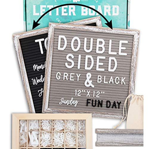 """Letter Board 12""""x12"""" Rustic Double Sided (Black & Gray) +690 Pre-Cut Letters +Cursive Words +Stand +Upgraded Wooden Sorting Tray 