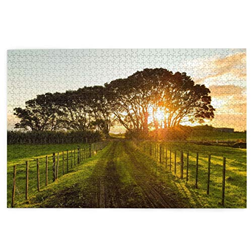 Countryside Sunset Jigsaw Puzzle 1000 Piece Adults/Kids Wooden Puzzles Educational Intellectual Game Brain Training Entertainment Toys for Home Decor 19.7''x29.5''