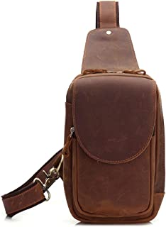 Man Sling Bag Leather Chest Bag, Crossbody Shoulder Bag Outdoor Daypack for Business Casual Sport Hiking Travel Brown (Color : Brown, Size : M)