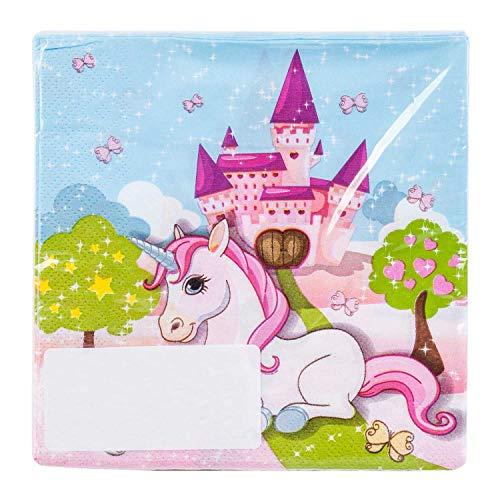 Procos 85673 Servietten Einhorn, 20 Stück, Größe 33 x 33 cm, Papierservietten mit Motiv, Tischdekoration, Mundtuch, Party, Unicorn, Schloss