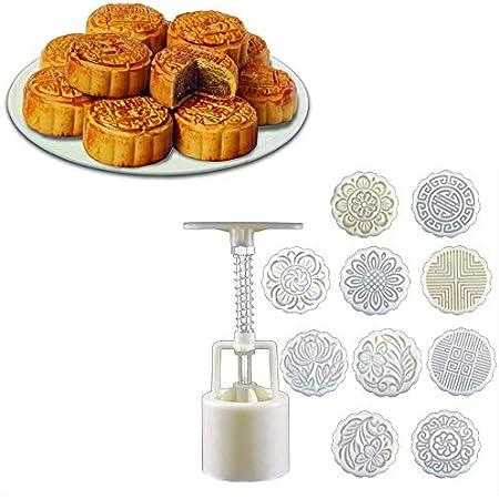Tsorryen 4pieces Hand Press Cookie Stamp Moon Cake Decor Mould Barrel Mooncake Mold 100g DIYWhite