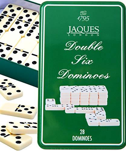 Jaques of London Doppel Sechs Domino   Dominoset in Zinnbox   Domino Spiel Kinder und Erwachsene   Domino Spiel   Spiele Für Erwachsene   Seit 1795