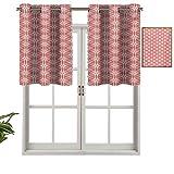 Hiiiman Cenefa de cortina para interiores y hogares, diseño de girasol lineal atado de ganchillo damasco, juego de 2, 42 x 36 pulgadas para baño y café