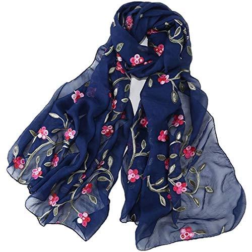 Damen Wrap Schal Schal Pfirsich Blüte Chiffon Blume Stickerei Weibliche Reise Foto Sonnencreme Strand Schal Mode Wild,H