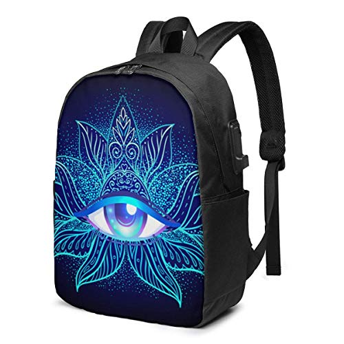 Sacred Geometry Symbol, All Eyes Seen are Mysterious in Acid Colors Laptop Backpack Durable Laptops Backpack with USB Charging Port College School Computer Bag 15.