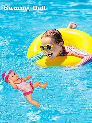 Sliveal Babypuppe Schwimmpuppe Süße Puppen Nicht silikonhaltige ungenießbare Mini-Dekorationen Ich kann für Hauptdekorationen Schwimmen Urlaub Geburtstagsgeschenke Wasser Babypuppe