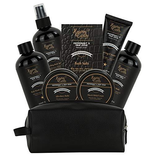 Grooming Gift For Men Relaxing Gift! Natural Bath Body Gift Set for Men. Mint Pine Mens Gift Basket - Best Self Care Bath Basket Spa Kit for Men! Luxury Shaving, Skincare, Beard & Bath Set for Men!