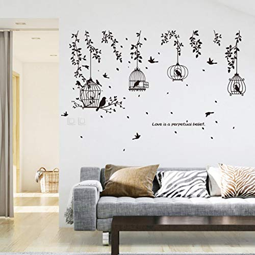 ZDWANIG Living Room Bedroom Decoration Silhouette Black Bird cage Wall Stickers Fashionable Black Branches Removable PVC Wallpaper