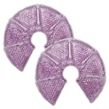 HI FINE CARE Breast Therapy Pads Breast Ice Pack, Hot Cold Breastfeeding Gel Pads, Boost Milk Let-Down with Gel Bead Pads, 2 Count (Purple, Large Diameter: 7.5')