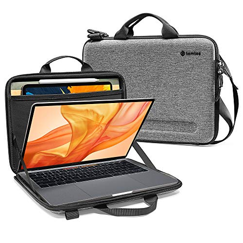 tomtoc 12-13 inch Ultra-Slim Case for 13-inch New MacBook Air A1932, MacBook Pro A2159 A1989 A1706 A1708, Organized Shoulder Bag with Tablet Pocket for Up to 11 Inch iPad Pro with Smart Case Keyboard