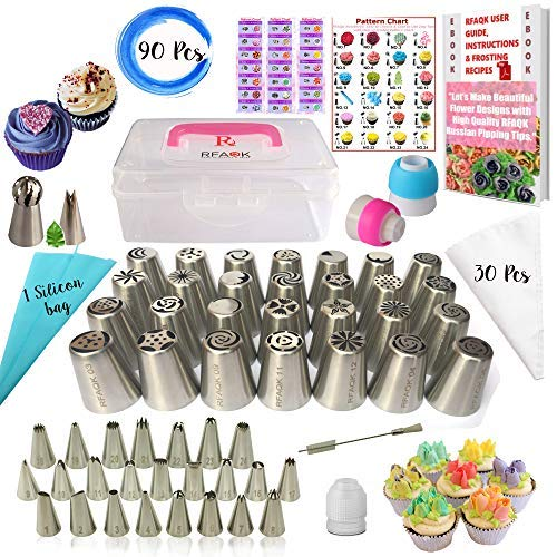 RFAQK- 90 PCs Russian piping tips set with storage case - Cake decorating supplies kit - 28 Numbered easy to use icing nozzles (28 Russian + 24 Icing + 1 Ball tip+1 leaf tip) - Pattern chart & E Book-