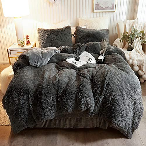 XeGe Plush Shaggy Duvet Cover Set Luxury Ultra Soft Crystal Velvet Bedding Sets 3 Pieces(1 Faux Fur Duvet Cover + 2 Faux Fur Pillowcases),Zipper Closure (Queen,Dark Gray )
