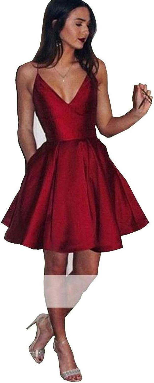 Ellystar Short Dark Satin Homecoming Dresses VNeck Spaghetti Straps Party Dress