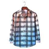 Camisa Informal de Manga Larga con Cuello de Solapa para Hombre, Camisa básica con Botones a la Moda con Estampado a Cuadros de Color Degradado con Personalidad XXL