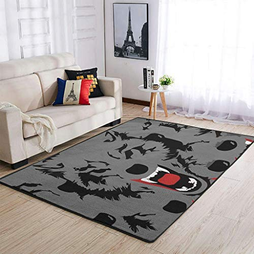 COMBON Shop Durable Wolf - Alfombra moderna para sala de estar, color blanco 50 x 80 cm