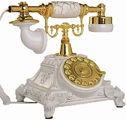 CHENXU Oficina Teléfono Fijo Moda con Cable Teléfono Blanco Europeo Antiguo Teléfono Dial Rotary Decoración de la habitación