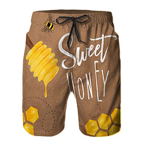 Aerokarbon Hombres Playa Bañador Shorts,Cartel ilustrado Cuchara panales Letras Dibujo Dulce Miel en artesanía,Traje de baño con Forro de Malla de Secado rápido XL