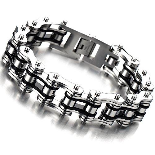 COOLSTEELANDBEYOND 22CM Herren-Armband Top-Qualität Edelstahl Fahrradkette Motorradkette Schwarz Silber Zwei Töne Hochglanz Poliert