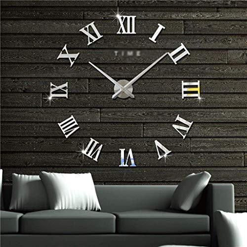 HEKRW Reloj de Pared Grande DIY, Reloj de Pared Moderno 3D con los números del Espejo Pegatinas for el Ministerio del Interior Decoración de Regalos (Color : B)