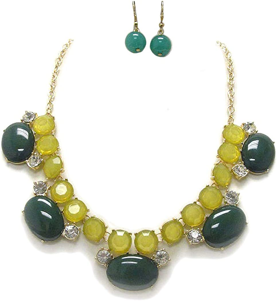 Fashion Jewelry ~ Green Crystal and Puffy Oval Stone Goldtone Statement Necklace and Earrings Set for Women Teens Girlfriends Birthday Gifts