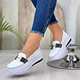 ergou Women's Comfortable Platform Loafers, Slip On Casual Shoes for Women Fashion Sneakers Memory Foam Cushioned Insole Walking Shoes (White,40)