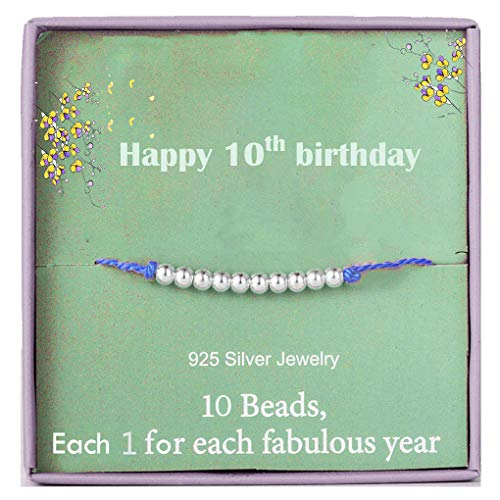 Happy 10th Birthday Bracelet Gifts for Girls Sterling Silver Beads bracelet for 10 Years Old Little Girl Jewellery Gift Idea