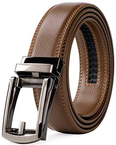 ジャスグッド JASGOOD ベルト メンズ 革 レザー ビジネス カジュアル 通勤 紳士 フォーマル ベルト オートロック式 男性用 スーツ用 サイズ調整可能 誕生日 プレゼント ブラウン