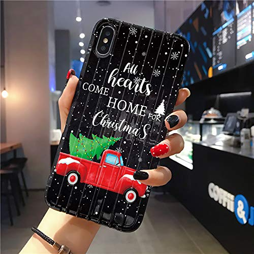 Rocking Giraffe | Compatible with iPhone XR Case | Tough Groove | Soft TPU Engraved Grooves Phone Case | Shockproof Anti-Scratch | Christmas Red Truck Pull Xmas Tree