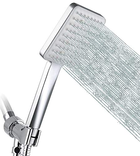 GRICH High Pressure Shower Head with Handheld, 6 Spray Modes / Settings Detachable Shower Head with Stretchable 59' 304 Stainless Steel Hose and Multi Angle Adjustable Shower Bracket