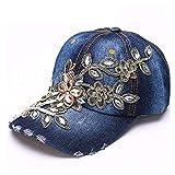 HOUJHUS Gorra de béisbol de algodón de las mujeres Gorra de béisbol de moda Pintura diamante Bordado Flor Dril de algodón equipado Sombrero Sombrero for el sol ( Color : Navy blue , Size : 56-60CM )