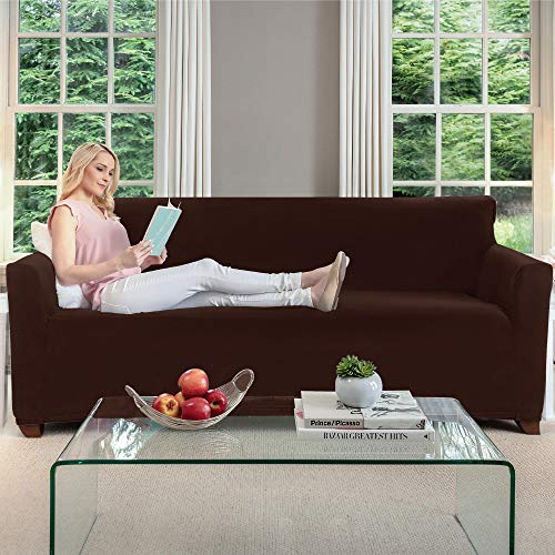 Gorilla Grip Original Fitted Velvet 1 Piece Large Sofa Protector for Seat Width to 70 Inch, Stretch Furniture Slipcover, Fastener Straps, Spandex Couch Slip Cover Throw for Pets, Dogs, Sofa, Chocolate